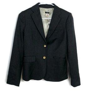 J Crew Size 0 Gray Fully Lined Brass Button Blazer